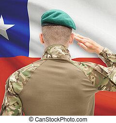 チリ, シリーズ, 国民, -, 旗, 背景, 力, 概念, 軍