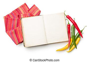 チリ, 別, 料理の本, 古い, 色, peppers.