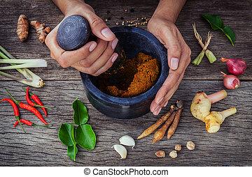 チリ, 木製である, スパイス, 原料, ニンニク, バックグラウンド。, galanga, レモングラス, 無作法...