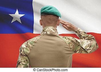 チリ, 肌が黒, -, 兵士, 旗, 背景