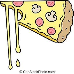 チーズが多い, 手, quirky, 引かれる, 漫画, ピザ
