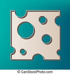 チーズ, スライス, vector., 色, 印。, バックグラウンド。, 印刷される, 海, アイコン, 3d