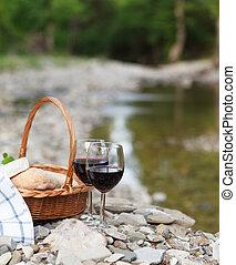 チーズ, ピクニック, ワイン, サービスされた, 赤, bread