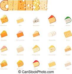 チーズ, ベクトル, セット, タイプ, アイコン