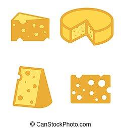 チーズ, ベクトル, セット, 黄色, アイコン