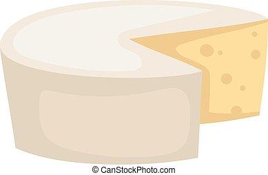 チーズ, ベクトル, 隔離された, に薄く切る, 白