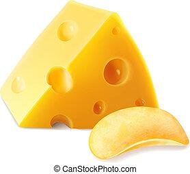 チーズ, ポテト, イラスト, 現実的, 3d, チップ, アイコン