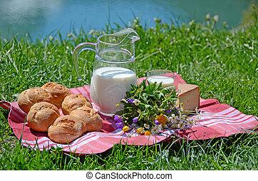 チーズ, ミルク, bread, ピクニック, サービスされた