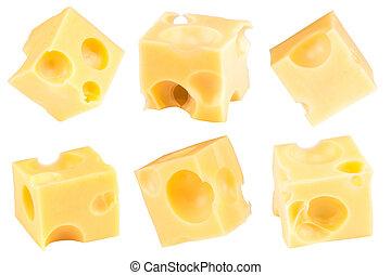チーズ, 切り抜き, 立方体, collection., 隔離された, バックグラウンド。, 道, 白