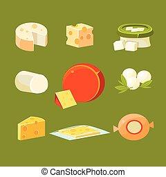 チーズ, 別, セット, イラスト, ベクトル, タイプ