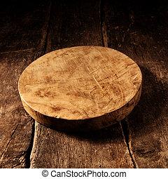 チーズ, 古い, 木製である, 無作法, 板, ラウンド