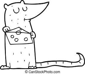 チーズ, 白, 黒, 漫画, マウス