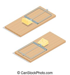 チーズ, 等大, illustration., 平ら, 隔離された, 現実的, ベクトル, クローズアップ, 背景, 白, mousetrap, 3d