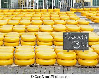 チーズ, netherlands, 市場, alkmaar