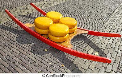 チーズ, netherlands, alkmaar, 市場