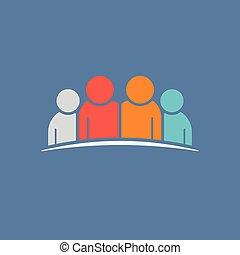 チームワーク, イラスト, concept., 4, 人々。, 友情, ベクトル, グラフィック, グループ