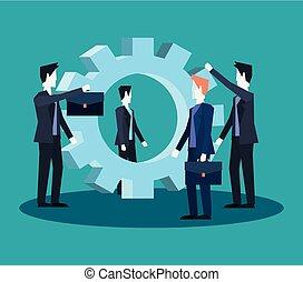 チームワーク, グループ, ビジネスマン, ビジネス, 一緒に