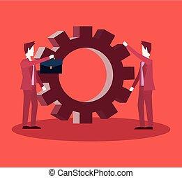 チームワーク, グループ, ビジネスマン, 協力, 解決