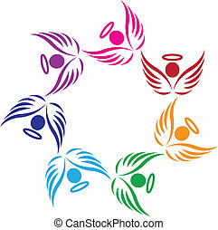 チームワーク, サポート, 天使, ロゴ
