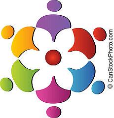 チームワーク, サポート, 花, ロゴ