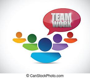 チームワーク, デザイン, イラスト, 人々