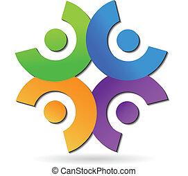 チームワーク, ネットワーキング, 人々, ロゴ