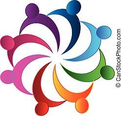 チームワーク, ミーティング, ビジネス, ロゴ