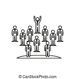 チームワーク, 人々, シルエット, グループ