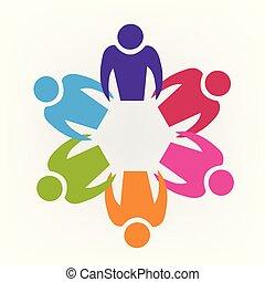 チームワーク, 人々, ロゴ, アイコン