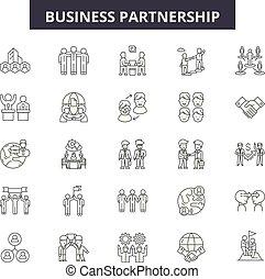 チームワーク, 人々, illustration:, ビジネス, セット, 協力, アウトライン, 概念, チーム, vector., 成功, 線, ビジネス, サイン, アイコン, 協力