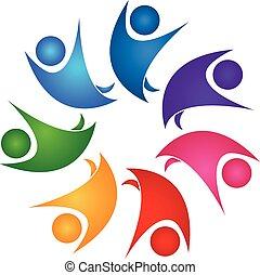 チームワーク, 健康, 人々, ロゴ