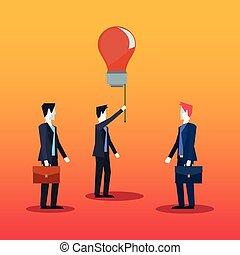 チームワーク, 創造性, ビジネスマン, 電球