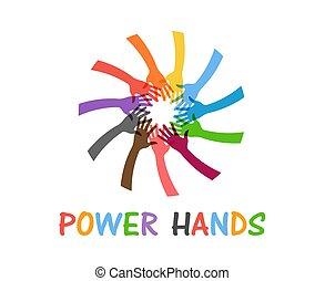 チームワーク, 力, 助けになっている手, 人々