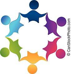チームワーク, 労働者, 人々, 統一, デザイン, ロゴ