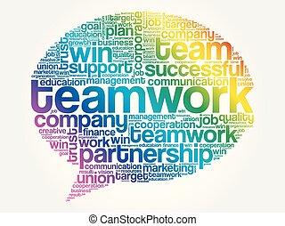 チームワーク, 単語の泡, 考えなさい, 雲