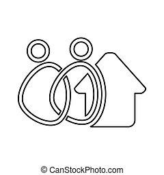 チームワーク, 家, 一緒に, 約束, 人々, アウトライン, ロゴ, 家
