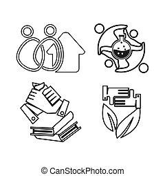 チームワーク, 家, 一緒に, 約束, 実験室, 本, アウトライン, ロゴ