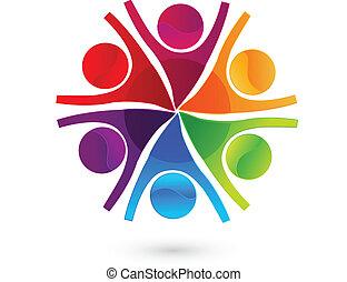 チームワーク, 幸せ, ビジネス 人々, ロゴ