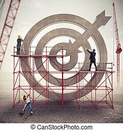 チームワーク, 建造しなさい, a, ビジネス, ターゲット, ., 入り混ざったメディア