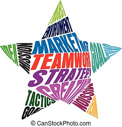 チームワーク, 形, 星, 言葉, ロゴ