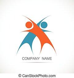 チームワーク, 抽象的なデザイン, ロゴ