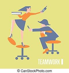 チームワーク, 旗, ビジネス 人々
