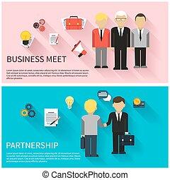 チームワーク, 概念, 協力, ミーティング, ビジネス