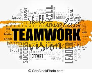 チームワーク, 概念, 単語, 雲, コラージュ, ビジネス