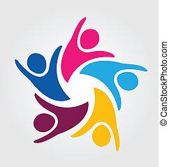 チームワーク, 統一, 人々, ロゴ