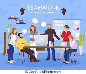 チームワーク, 背景, イラスト