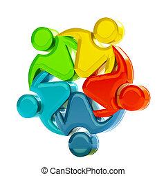 チームワーク, 3d, 社会, 媒体, ロゴ