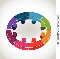チームワーク, aでの人々, 円, ロゴ