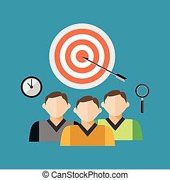 チームワーク, concept., ターゲット, ビジネス