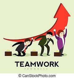 チームワーク, graph., ビジネスマン, 成功, 保有物